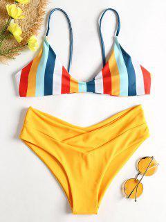 Gestreifter Hohes Bein Cami Bikini - Helles Gelb M
