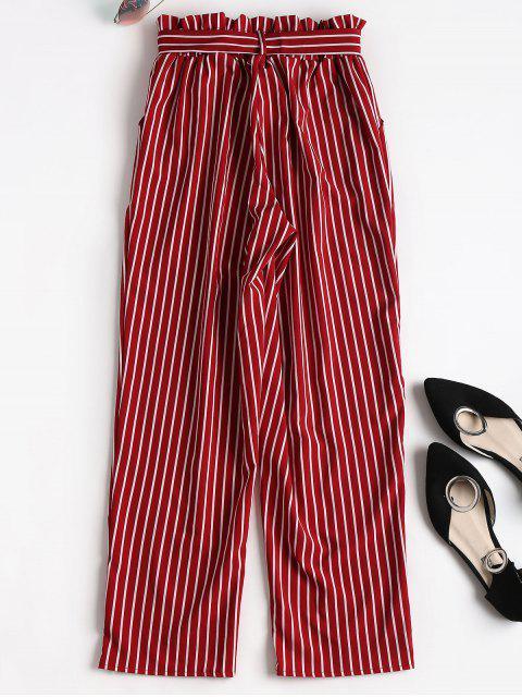 hot Ninth Striped Paper Bag Pants - RED L Mobile