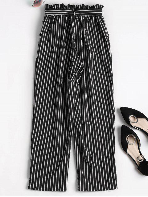 Novena pantalones de bolsa de papel rayado - Negro L Mobile