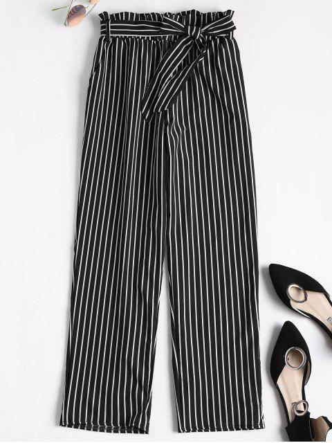 latest Ninth Striped Paper Bag Pants - BLACK L Mobile