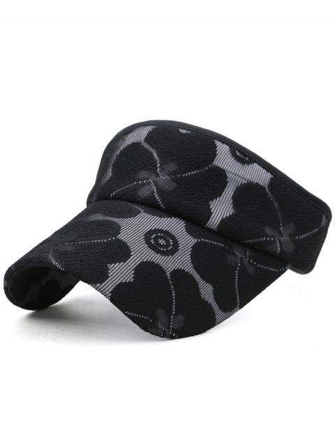 sale Floral Embroidered Open Top Sun Hat - BLACK  Mobile