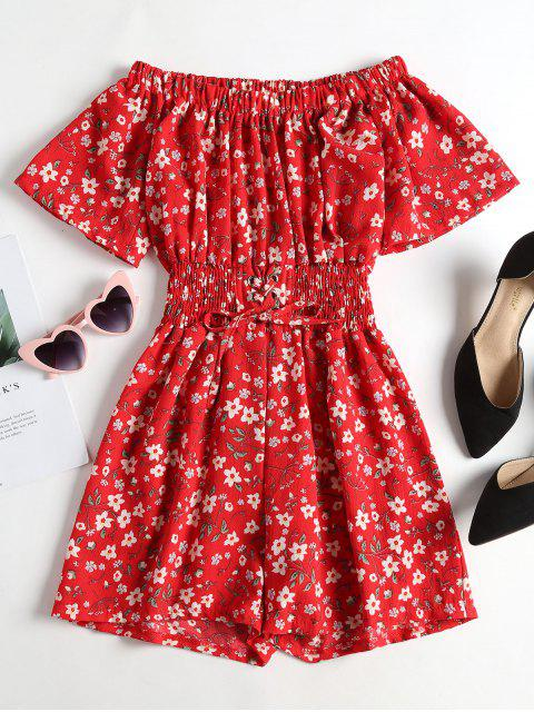 fancy Lace Up Floral Off The Shoulder Playsuit - RED ONE SIZE Mobile