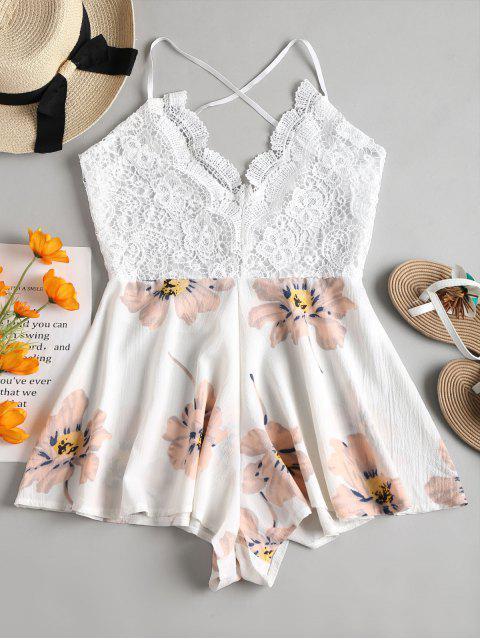 sale Crochet Backless Breezy Floral Romper - WHITE S Mobile
