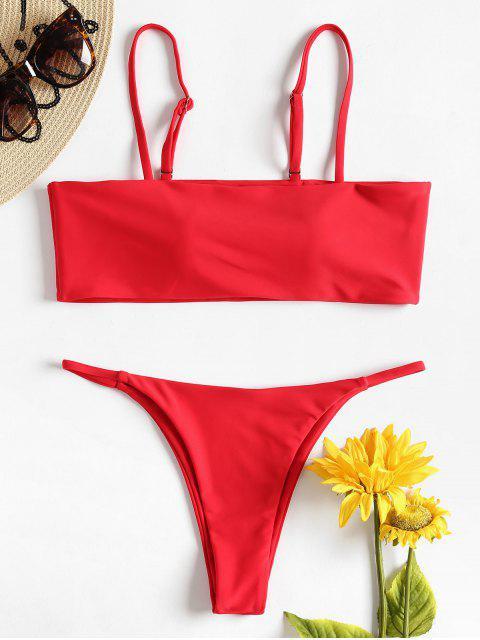 Gepolsterter Niedrige Taille Thong Bikini Set - Rot M Mobile