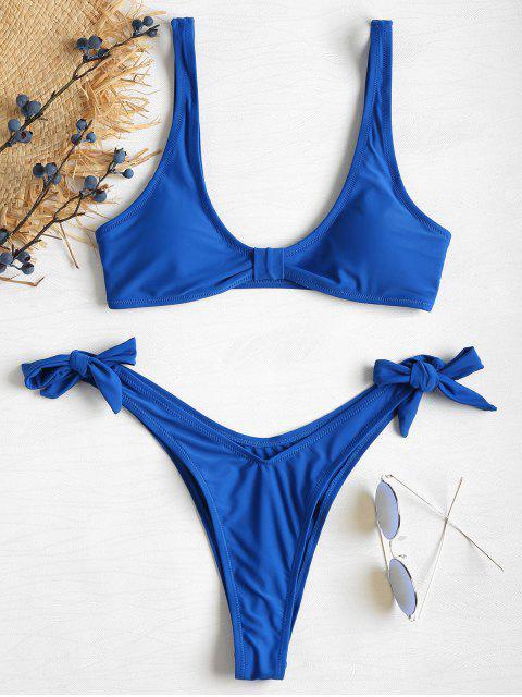 Knoten Riemchen Seitlicher Hohes Bein Bikini Set - Königlich Blau L Mobile
