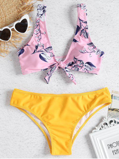 Bikini con nudo de flores en contraste - Rosa Luz L Mobile