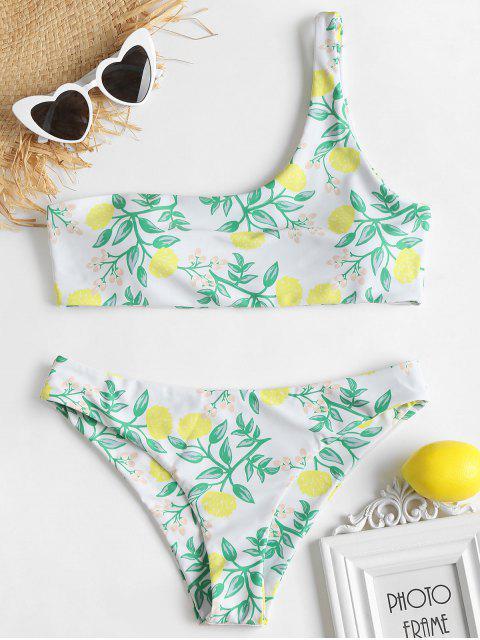 Bikini con estampado de plantas y un solo hombro - Blanco L Mobile