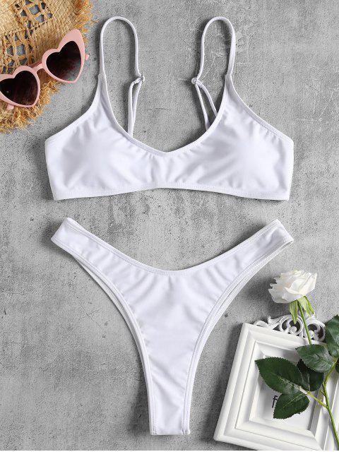 Conjunto de bikini de tanga de pierna alta - Blanco S Mobile