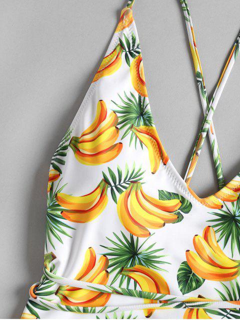 Traje de baño de corte alto cruzado de estampado de banana - Blanco M Mobile