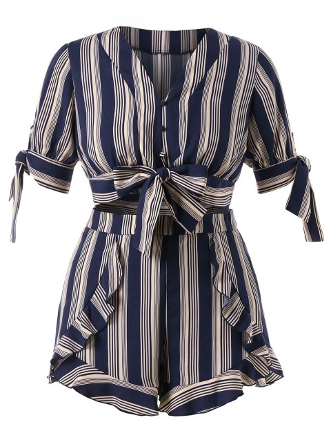 online Plus Size Striped Bowknot Shorts Set - DARK SLATE BLUE 4X Mobile