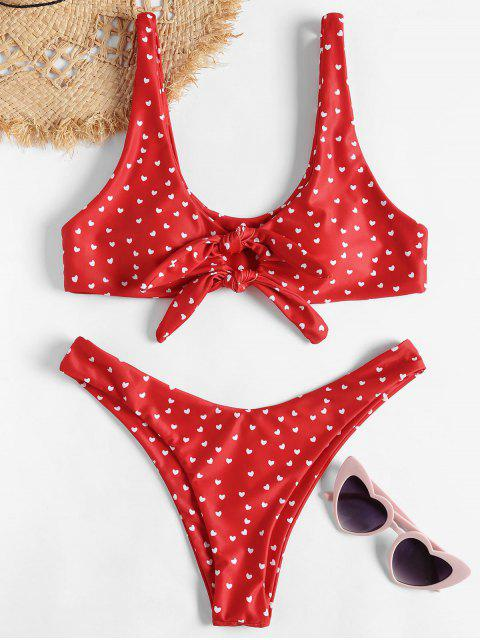 womens Knot High Leg Heart Bikini Set - RED L Mobile
