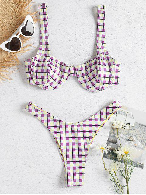 women Colorful Checked Underwire Bikini Set - MULTI L Mobile