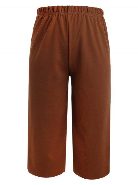 affordable Wide Leg Plus Size Gaucho Pants - PAPAYA ORANGE 4X Mobile