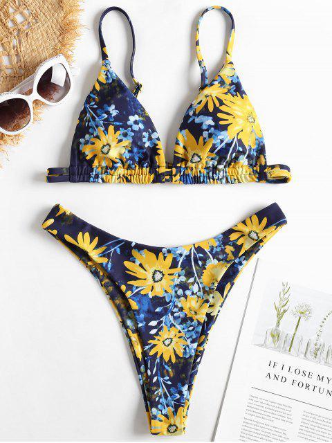 Bikini à Motif Floral et Coupe Haute - Bleu Foncé Toile de Jean L Mobile