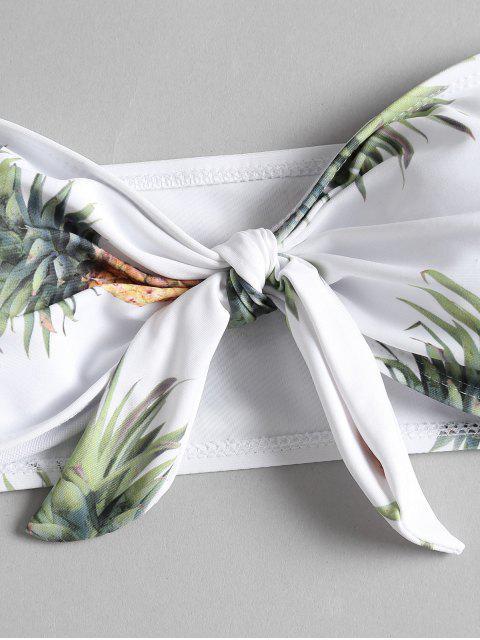 Bikini Bandeau à Nœud et Imprimé D'ananas - Blanc S Mobile