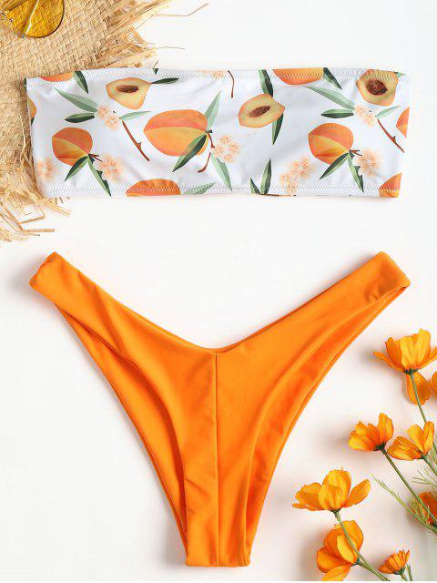 lady Peach Print Tube Bikini - DARK ORANGE L Mobile
