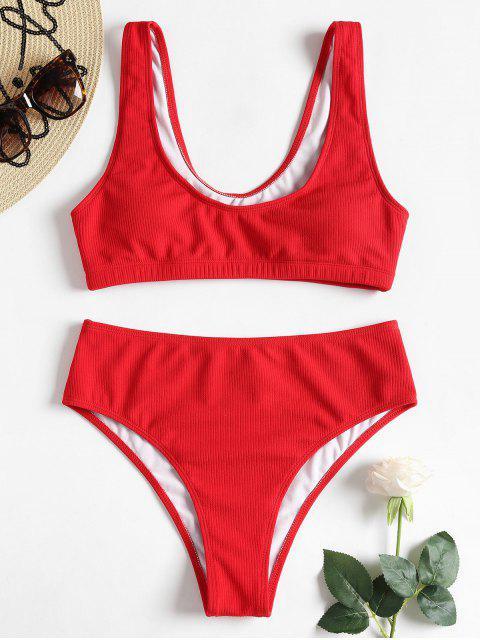 U Ausschnitt Gepolstertes Hoch Tailliertes Bikini-Set - Lava Rot S Mobile