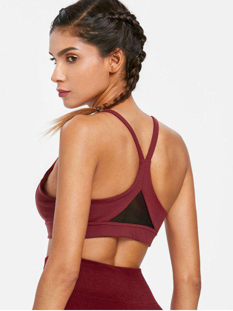 ladies Mesh Inset Mid Impact Sports Bra - MAROON L Mobile