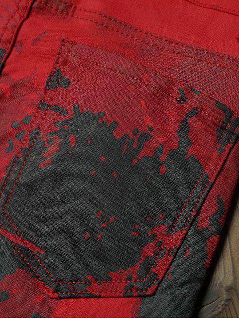 Jean Maigre Ajusté Encre Splash Imprimé - Rouge Lave 36 Mobile
