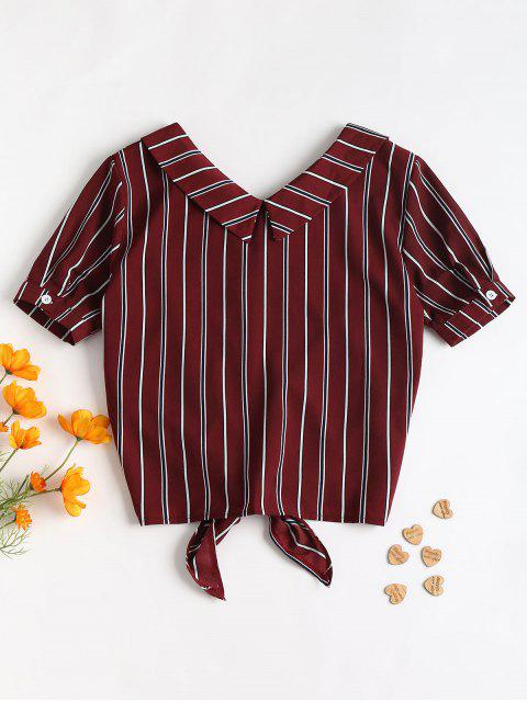 shops Fold Over Tie Front Striped Casual Shirt - RED WINE M Mobile