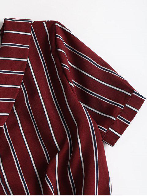 shop Fold Over Tie Front Striped Casual Shirt - RED WINE L Mobile