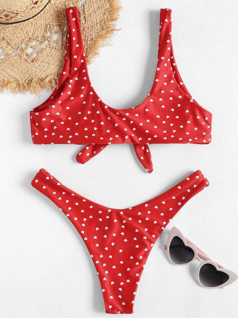 womens Knot High Leg Heart Bikini Set - RED L Mobile