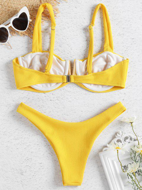 latest Ribbed Knit Underwire Bikini - SUN YELLOW S Mobile