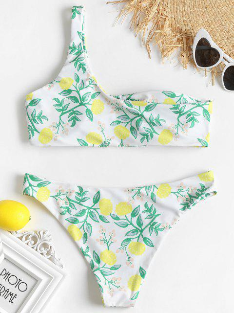 fashion Plant Print One Shoulder Bikini Set - WHITE M Mobile