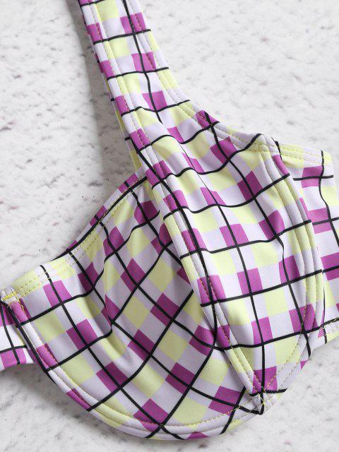 affordable Colorful Checked Underwire Bikini Set - MULTI M Mobile