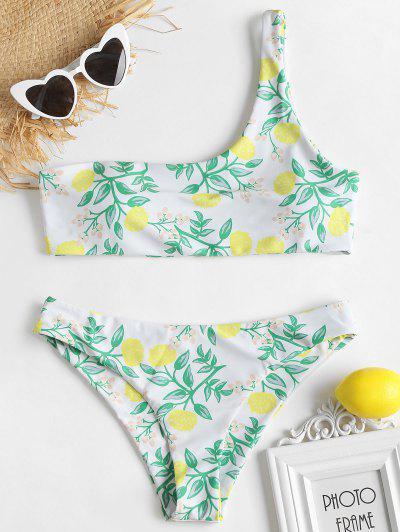 Plant Print One Shoulder Bikini Set - White S