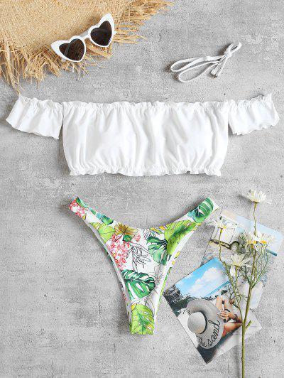 Frills Trim Off Shoulder Jungle Bikini - White S