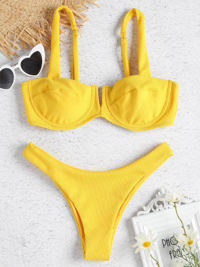 Ribbed Knit Underwire Bikini - Sun Yellow S