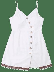 Blanco Vestido Cami Botones M Con Trim Pompom wAA1Tq7