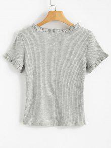Gris Camiseta L Ribbed Frilled Claro Marl qptEE