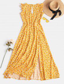 فستان بفتحة صغيرة من الشق - بني ذهبي S