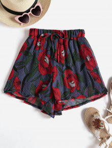 Flowy Floral Loose High Waisted Shorts - متعدد