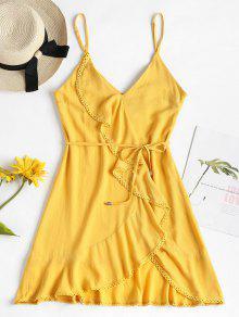 فستان بحواف كروشيه مزينة بحزام - صن اصفر M