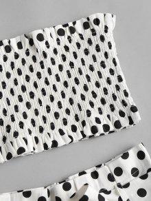 Cortos A Pantalones Conjunto Blanco Smocked Lunares S De fqpZgR