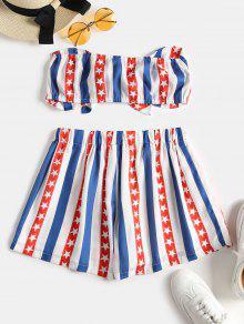 243;n De De Y Corto L Conjunto Anudada Multicolor Pantal Top Americana Bandera Swx7nTq