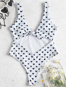 قلب طباعة قطع ملابس السباحة - أبيض S