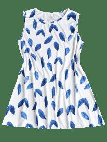 L 237;nea Minifalda Azul Estampado De Hojas Con Vestido Una S De De xzwOq8nv5F