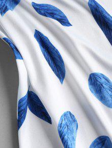 Minifalda Hojas Azul De S L Una De De 237;nea Vestido Estampado Con 4n5YqX