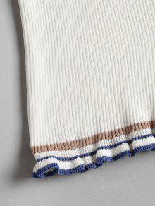 Contraste Striped Acanalado Frill Top Blanco Cami rrwzRqHax