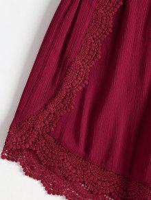 Crochet Anudadas Anudadas Vino De Conjunto Y Tinto Cortos S Pantalones De YqwaxfZ7