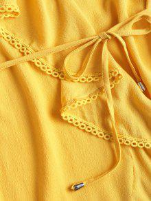 L De Sol Ribete Cintur Con Volantes Amarillo 243;n De De Con Ganchillo Vestido qdtP7wfxd