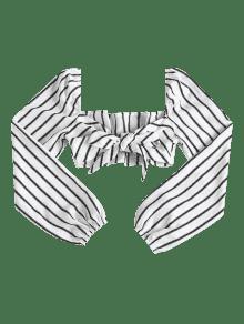 Blanco Manga Anudada Top Lazo Anudado Rayas Con L A Corto De qz6B6fF