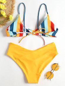 03761a445593f Gestreifter Hohes Bein Cami Bikini