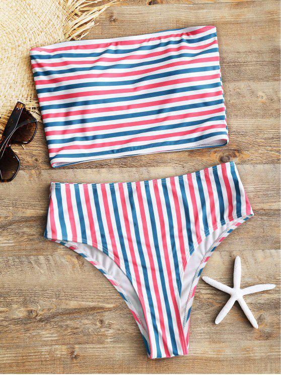 lady Striped Tube Top with High Cut Bikini Bottoms - STRIPE M