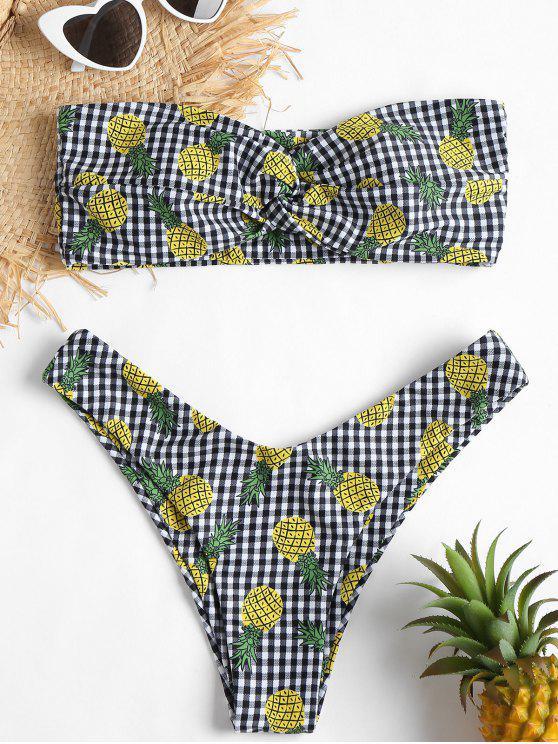 Bikini Bandeau Gingham Pineapple Twist - Multicolor M
