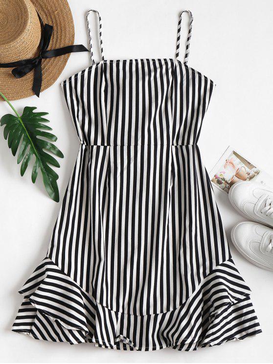 ladies Cami Striped Mini Ruffle Sundress - BLACK M